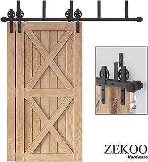 ZEKOO Rustic 5-16 FT Flat Track Bypass Barn Doors Hardware Black Steel Big Wheel Roller Track for Double Wooden Doors (5FT Bypass Double Door Kit)
