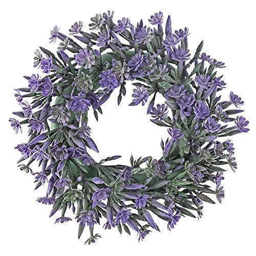 Ghirlanda decorativa, design 3, interno: diametro 9,5 cm, diametro esterno: 23 cm, con fiori viola e boccioli