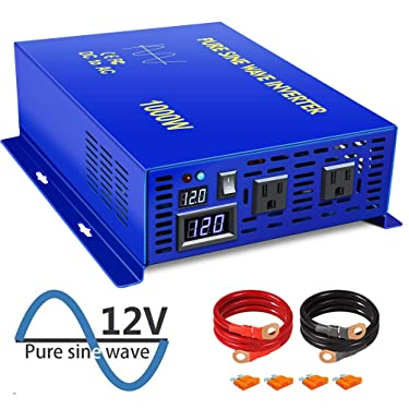 XYZ INVT 1000W Pure Sine Wave Inverter dc to ac Power Inverter 12V to 110V 120V with LED Display Dual AC Outlets for RV Truck Boat (1000W12V)