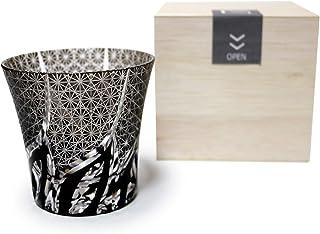GREEM MARKET(グリームマーケット) 木箱付 工芸品 ガラス細工 切子 グラス コップ 焼酎グラス ロックグラス ブラック 黒 菊繋ぎ 品番:GMS01781