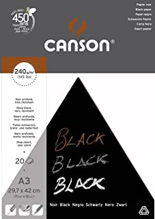 Canson Black Drawing 240gsm paper, A3 pad including 20 sheets of deep black smooth paper.