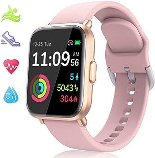 LIDOFIGO Reloj Inteligente Smartwatch Pantalla Táctil Actividad Inteligente IP68 Impermeable Reloj de Fitness Monitor de Sueño Pulsómetro Brújula Podómetro Cronómetro Smart Watch Hombre Rosa
