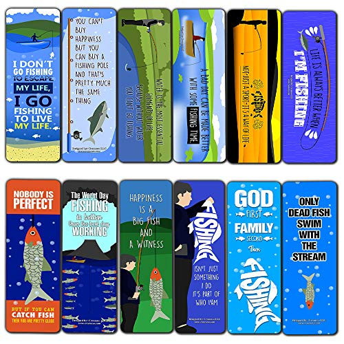 Creanoso Fishing Bookmarks (12-Pack) – Bookmarker Cards Bulk Set – Premium Gift for Men & Women, Adults – Giveaway Tokens Gift Ideas – Employees Business Rewards Incentives Book Clippers