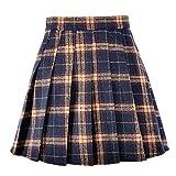 "Coswe Girls High Waist Wool Pleated Schoolgirls Mini Skirt (L:Waist 28.34"", Black)"