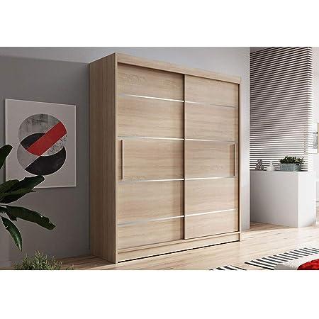 E-MEUBLES Armoire de Chambre avec 2 Portes coulissantes + eléments décoratif en aliminium | Penderie (Tringle) avec étagères (LxHxP): 120x200x61 Noah 06 (Sonoma + Sonoma)