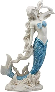 Atlantic Collectibles Aqua Blue Tailed Mermaid Listening to Sconce Figurine 12