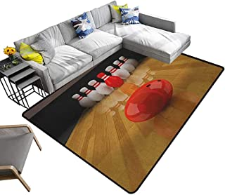 Bowling Party Home Custom Floor mat Alley with Red Skittle in Center Target Score Winning Competition 78