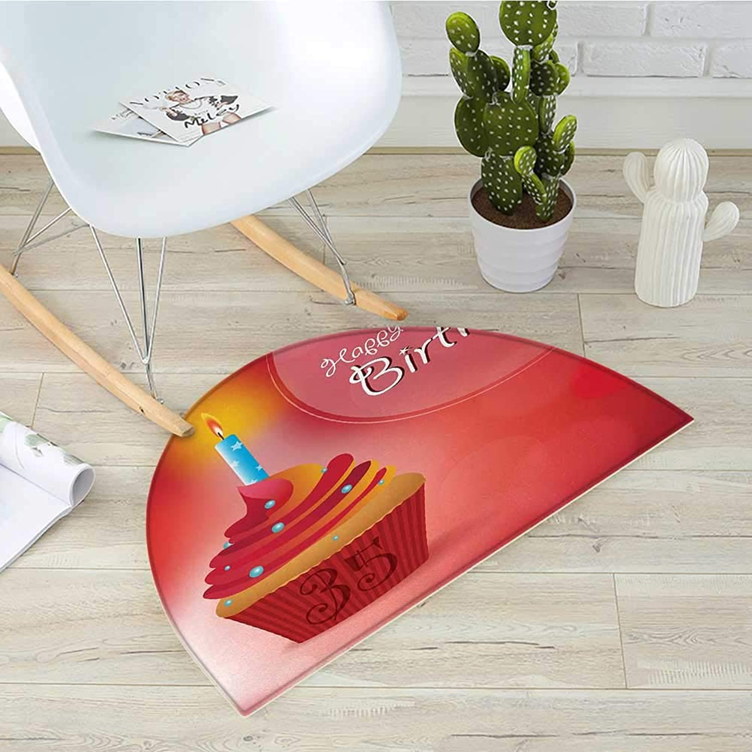 35th Birthday Half Round Door mats Cute Burning Candles on a Yummy Looking Cupcake with Stars and Dots Bathroom Mat H 43.3  xD 64.9  Red orange bluee