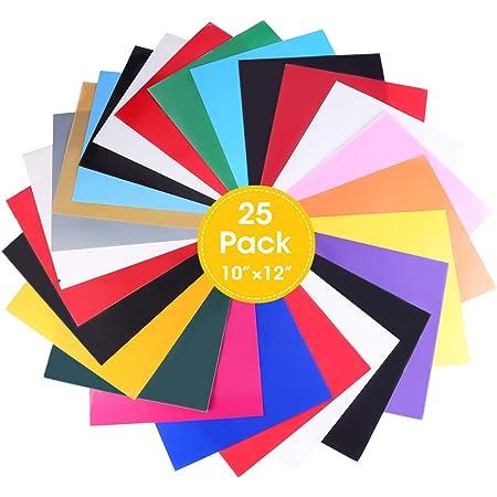 ARTISTORE 25Pc PU Papel transfer para hacer camisetas,sombreros, ropa de vinilo resistente para Silhouette Cameo, Cricut o Heat Press Machine Tool