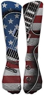 Hunter qiang, American Flag Guitarra rodilla altura graduada compresión para hombres y mujeres Best Medical, Nursing, Travel & Fligh Running & Fitness Long: 50 cm