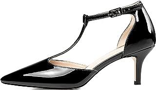 Eldof Womens Kitten Heel Pumps T-Strap Ankle Buckle Pumps2.6 Pointed Toe Classic Office Dress Heels