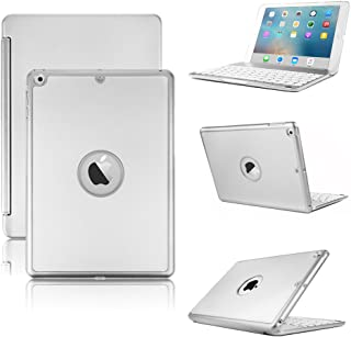 iPad Keyboard Case Compatible with iPad 9.7 inch 2018/2017 -KVAGO F8S Hard Shell Case with 7 Colors Back-lit Wireless Keyboard for iPad 6th Gen,5th Gen -Silver
