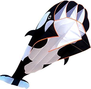 Hengda KITE-3D Kite Huge Frameless Soft Parafoil Giant Black Dolphin Breeze Kite
