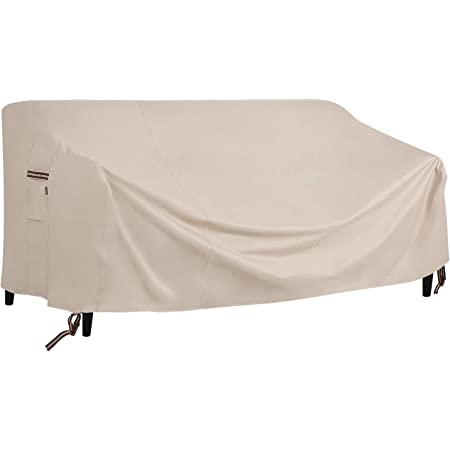 """SONGMICS Deep Seat Sofa Cover, Patio Sofa Cover, Waterproof Outdoor Furniture Cover, 90"""" L x 38"""" W x 30/19"""" H, Beige UGSC260BE"""
