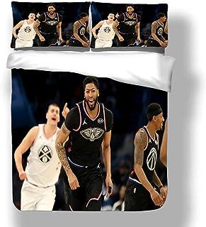 Juego de funda nórdica Anthony Los Angeles Jugador de baloncesto 3 ropa de cama The Brow Davis Lakers Super Star Block Shot Juego de colcha para el juego en casa con 2 fundas de almohada New Orleans C