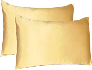 Oussum Satin 300 TC Pillow Cover, Standard - 20 x 26 Inch, Banana Cream