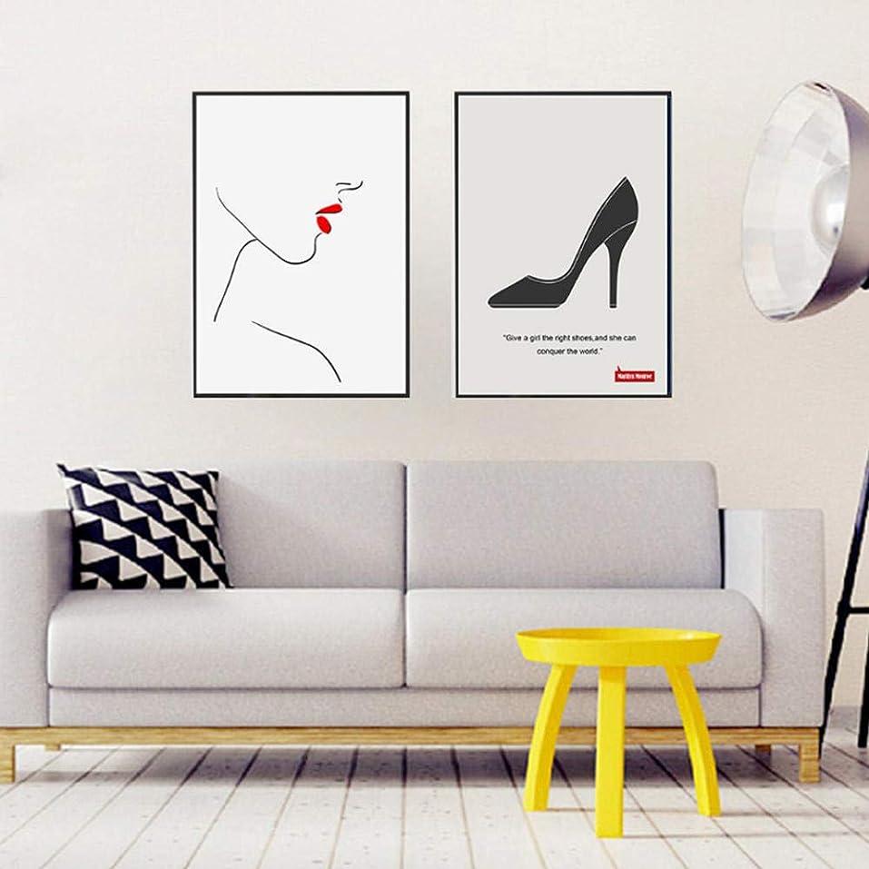 バイオリンチューリップ正気現代のファッションメイクリップキャンバスプリント絵画抽象ポスターブラックホワイトウォールアート写真ガールズルームホーム(40x60cmx2フレームなし)