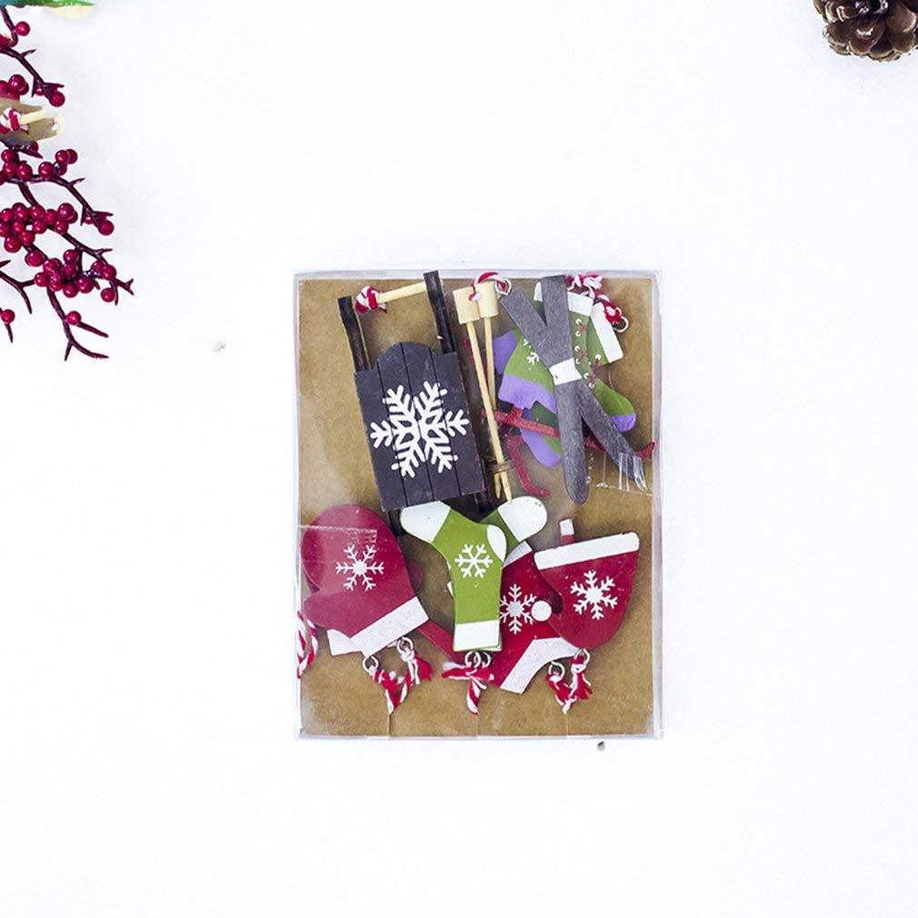 Hemore Navidad Traje de esquí Colgante árbol de Navidad Madera ...