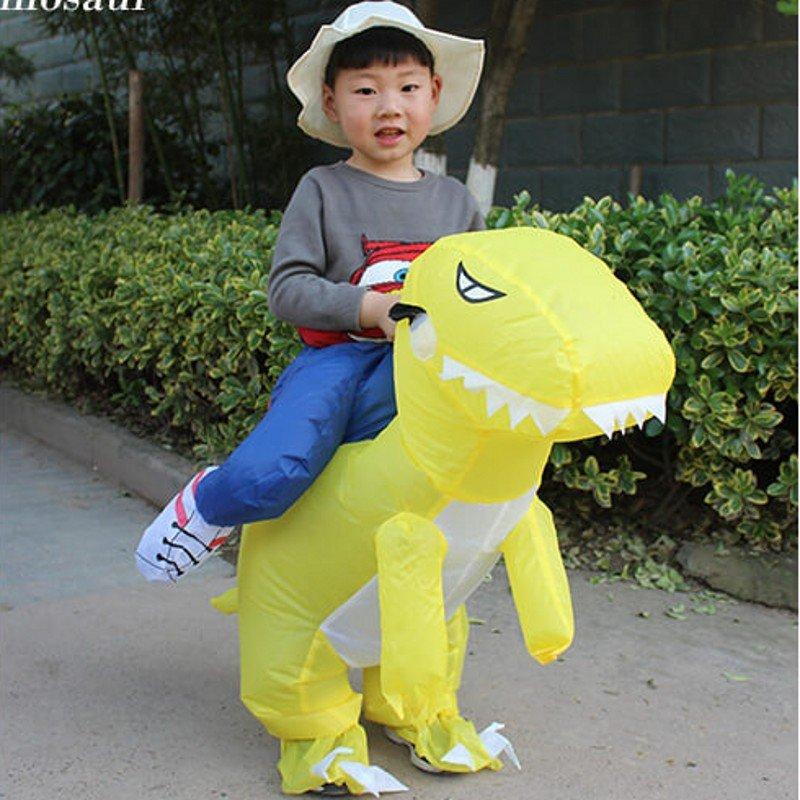 美亚爆款 儿童版2-6岁 恐龙充气服装 黄色 儿童玩具服装可以骑行抖音同款热门网红霸王龙坐骑 自动充气(需自配4节5号电池)由于快递原因,新疆、西藏不能发货,麻烦不要下单,谢谢