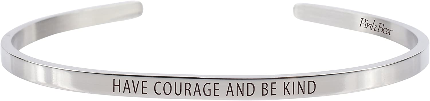 Pink Box 3mm Solid Stainless Steel Cuff Bracelet - Have Courage and Be Kind