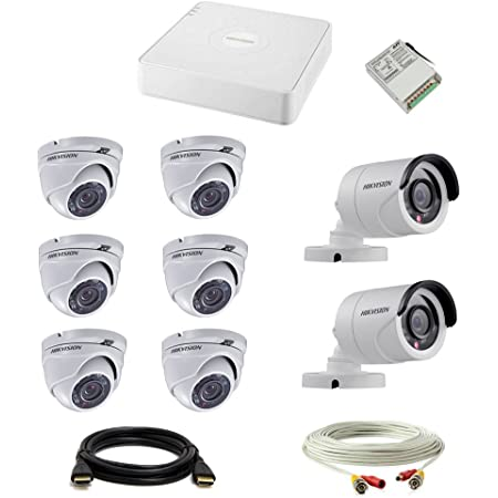 HIKVISION Set of 6, 2 Dome and Bullet CCTV Camera with 8 Ch DVR with Accessories