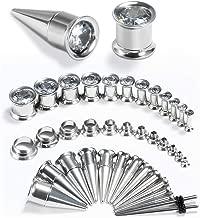 TBOSEN 36PCS Ear Gauge Stretching Kit Stainless Steel Cubic Zirconia Tapers 2 In 1 Plugs Set Eyelet 14G-00G