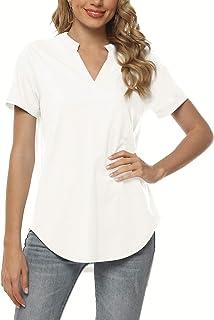 Women's Short Sleeve V-Neck Tops Loose Tunic Blouses...