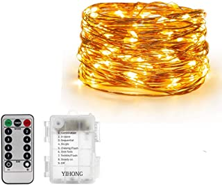 AMERTEER Fairy String Lights Battery Operated 10M-100 LEDs Twinkle Firefly Lights with Timer Remote Control - Copper Wire-...