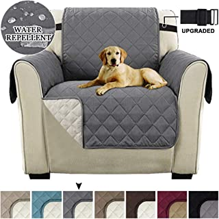 Luxurious Chair Slipcover Chair Cover for Dogs Reversible Quilted Sofa Cover with 2 Adjustable Straps, Water Resistant Slipcover Furniture Protector, Seat Width Up to 21 (Chair-Gray/Beige)