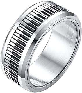 PAMTIER Men's Stainless Steel 8mm Black and White Pi
