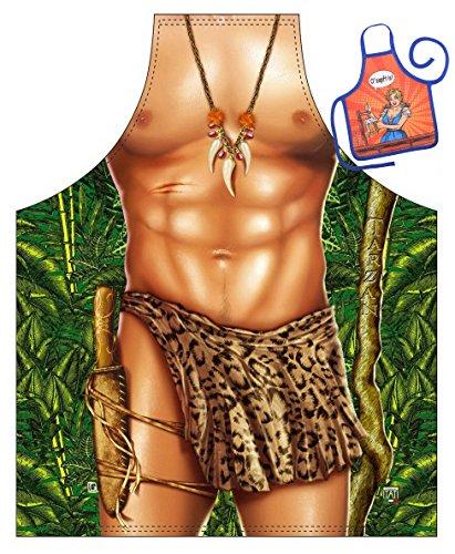 Spaß-Themen-Schürze/Grill/Kochschürze Rubrik sexy Motive: Tarzan - Geschenk-Set inkl. Mini-Schürze