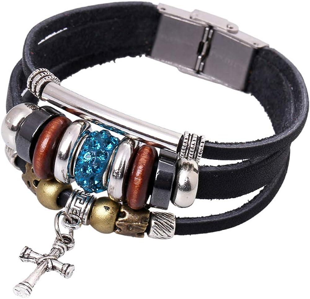 Handmade Leather Bracelets Set for Men and Women Vintage Cross Beaded Braided Adjustable Wrap Cuff Bracelet