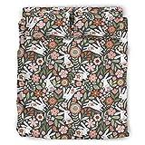 Haythan Juego de ropa de cama de 4 piezas, diseño gráfico, juego de ropa de cama de 4 piezas para cama individual, Queen, King White 203 x 230 cm
