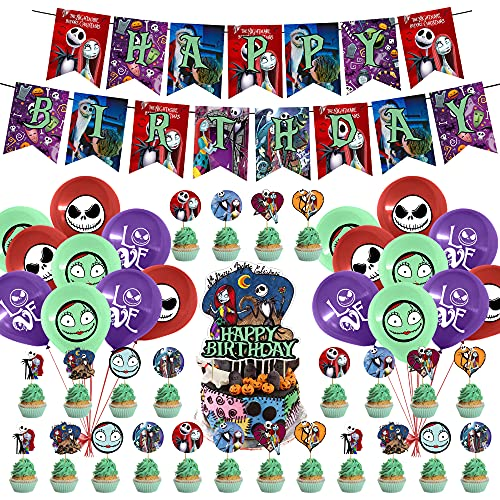 50 Pcs Nightmare Before Christmas Inspired Party Decorations, Horrible Movie Theme Party Supplies, Happy Birthday Banner Movie Jack Sally Halloween Christmas Birthday Favors Party Décor