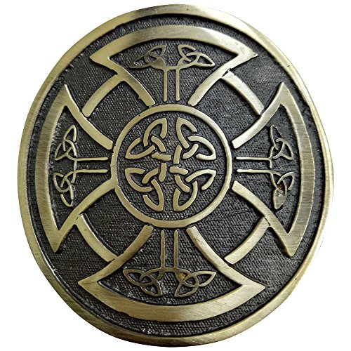 Round belt buckle with Celtic knot and buckle for mountain belt, Celtic style, chromed color 3 'aged