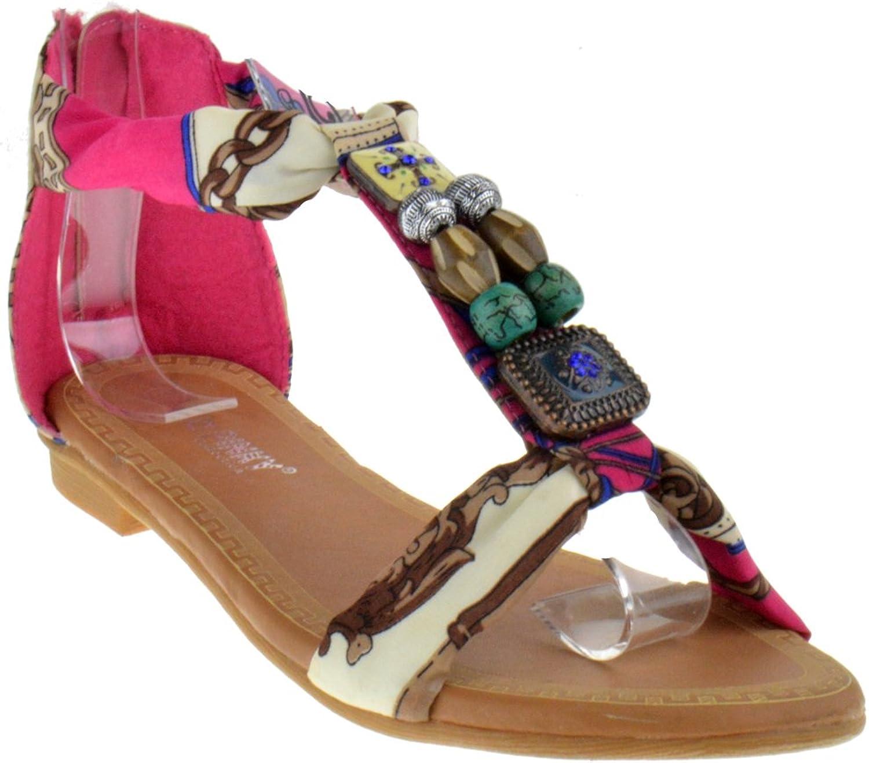 Pinky Gigi 92 Gladiator Tribal Decorated Flat Sandals Fushia