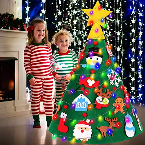 TOPLEE 3D Lighted DIY Felt Tree Toy Set with 20Pcs Cute Hanging Ornaments 17 Ft Color String Light 2 Modes, Kids DIY Indoor Home Decorations Holiday Birthday Gifts for Kids Toddlers Party Favor