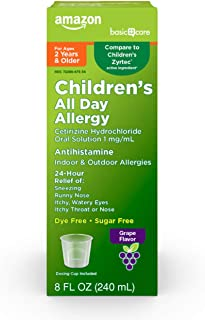 Amazon Basic Care Children's All Day Allergy, Cetirizine Hydrochloride Oral Solution 1 mg/mL, Fluid Ounces Grape Flavor, 8...