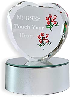 BANBERRY DESIGNS Nurse Gift - LED Lighted Glass Heart on Base - Nurses Touch Your Heart - Color Changing Heart - Gifts for Nurses - Nurse's Week - Nurse Graduation Gifts - Register Nurse - RN