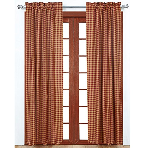 VHC Brands Burgundy Check Scalloped Panel Set of 2 84x40 Country Curtains, Burgundy and Tan