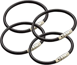 """Lucky Line 4-1/2"""" Locking Cable Key Ring, Crimp to Permanently Close, Nylon Coated Steel Wire, Corrosion-Resistant, 25 Pack, Black"""