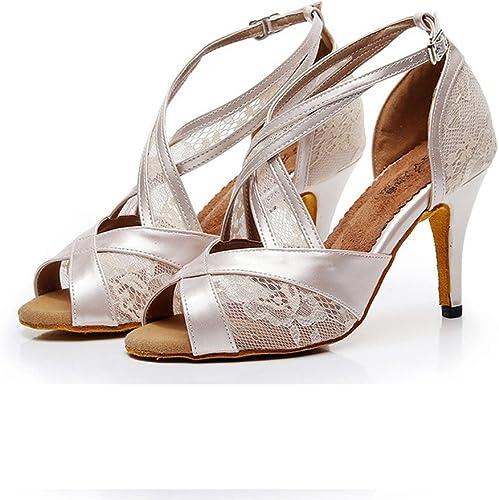 BYLE Sangle de Cheville Sandales en Cuir Chaussures de Danse Modern'Jazz Samba Chaussures de Danse Latine Chaussures d'intérieur Beige 75cm
