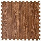 タンスのゲン ジョイントマット 大判59cm 厚み20mm 3畳用 16枚組 木目調 防音 保温性 床暖房対応 ノンホルムアルデヒド サイドパーツ付き ウォールナット 18700009 18 (68611)