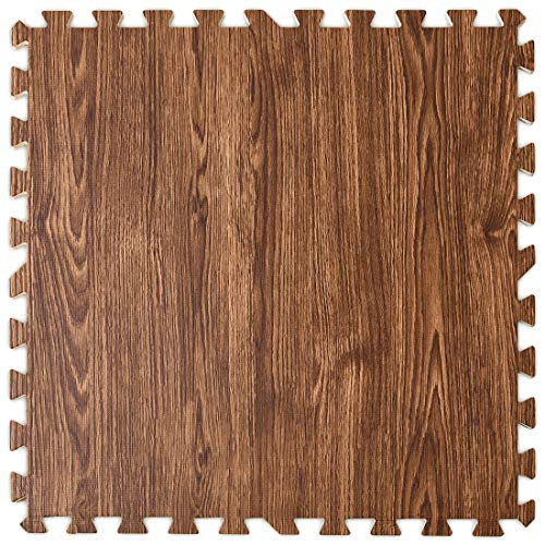 タンスのゲンジョイントマット大判59cm厚み10mm3畳用16枚組木目調防音保温性床暖房対応ノンホルムアルデヒドサイドパーツ付きウォールナット1870005408(67869)