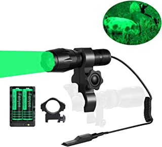 Fenyee Green Light 350 Yards Spotlight Zoomable Tactical Hunting Flashlight Torch for Hog Pig Coyote Varmint