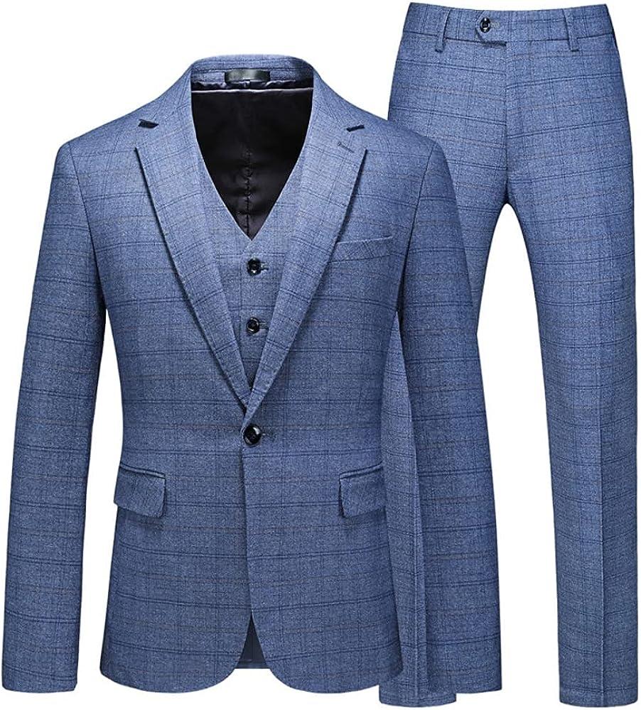 Men's 3 Piece Slim Fit Suit Set, One Button Solid Jacket Vest Pants with Tie Black