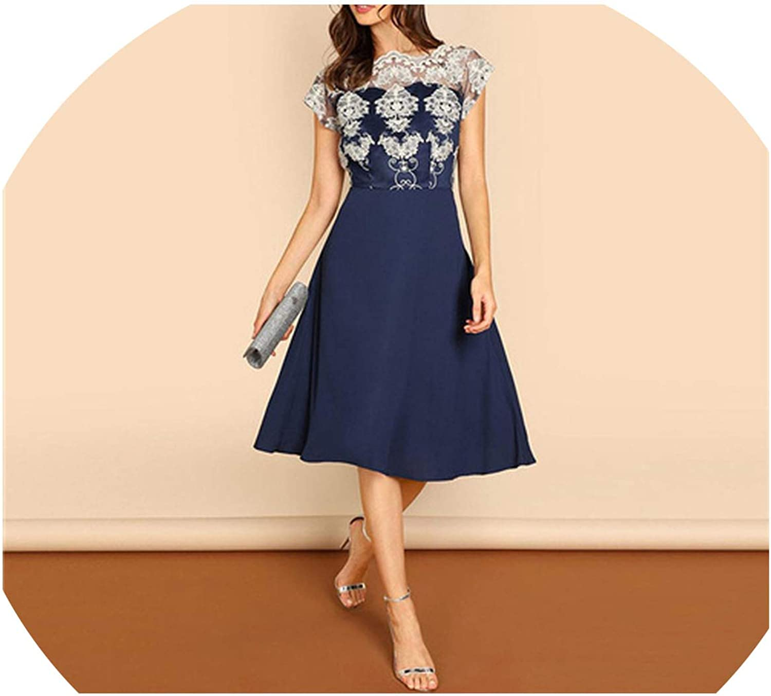 I'll NEVER BE HER Navy Embroidered Mesh Bodice Dress Elegant Short Sleeve Party Dresses Women Spring A Line Dress