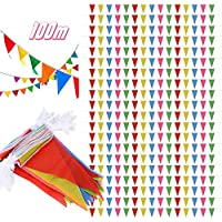 SERWOO 100m/200pcs Guirnaldas Banderines Banderas Tela Colores Triángulo Bunting para Cuerda de Advertencia, Fiesta, Cumpleaños, Bar, Boda, Navidad, Escuela, Jardín, 100m Total, 12.5*21cm