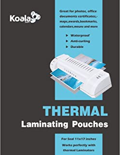 Koala Hot Thermal Laminating Pouches 5 mil 11.5x17.5 Inches for Seal 11x17 Photos 50 Sheets