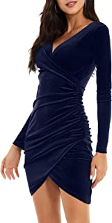 Amzbarley Womens Velvet Sexy Wrap V Neck Long Sleeve Bodycon Ruched Cocktail Party Mini Dress Size